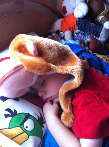 Asleep with his monkey hat